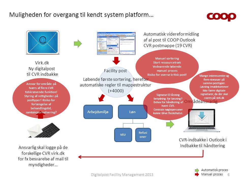 Muligheden for overgang til kendt system platform…