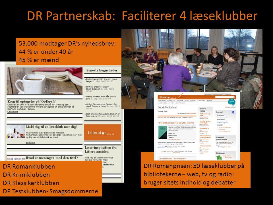 DR Partnerskab: Faciliterer 4 læseklubber