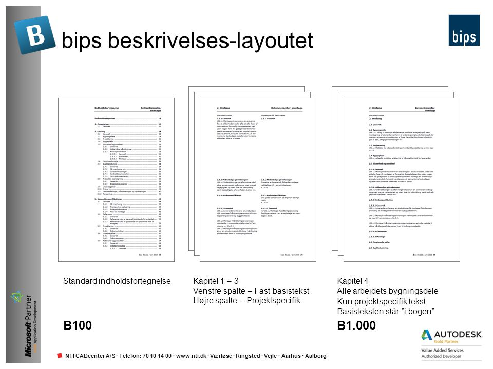 bips beskrivelses-layoutet
