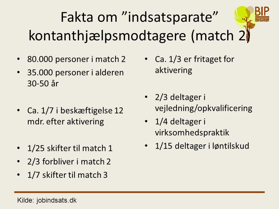 Fakta om indsatsparate kontanthjælpsmodtagere (match 2)