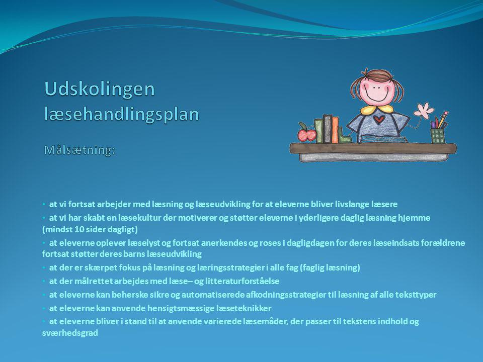 Udskolingen læsehandlingsplan Målsætning: