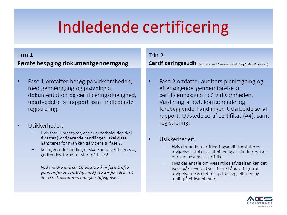 Indledende certificering
