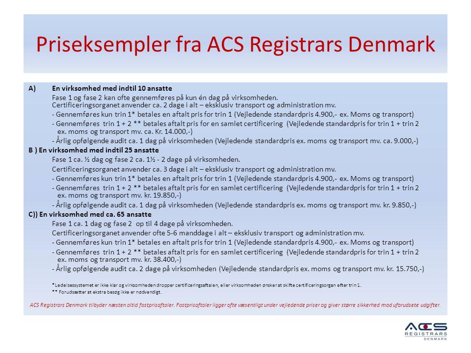 Priseksempler fra ACS Registrars Denmark