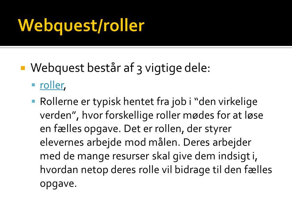Webquest/roller Webquest består af 3 vigtige dele: roller,