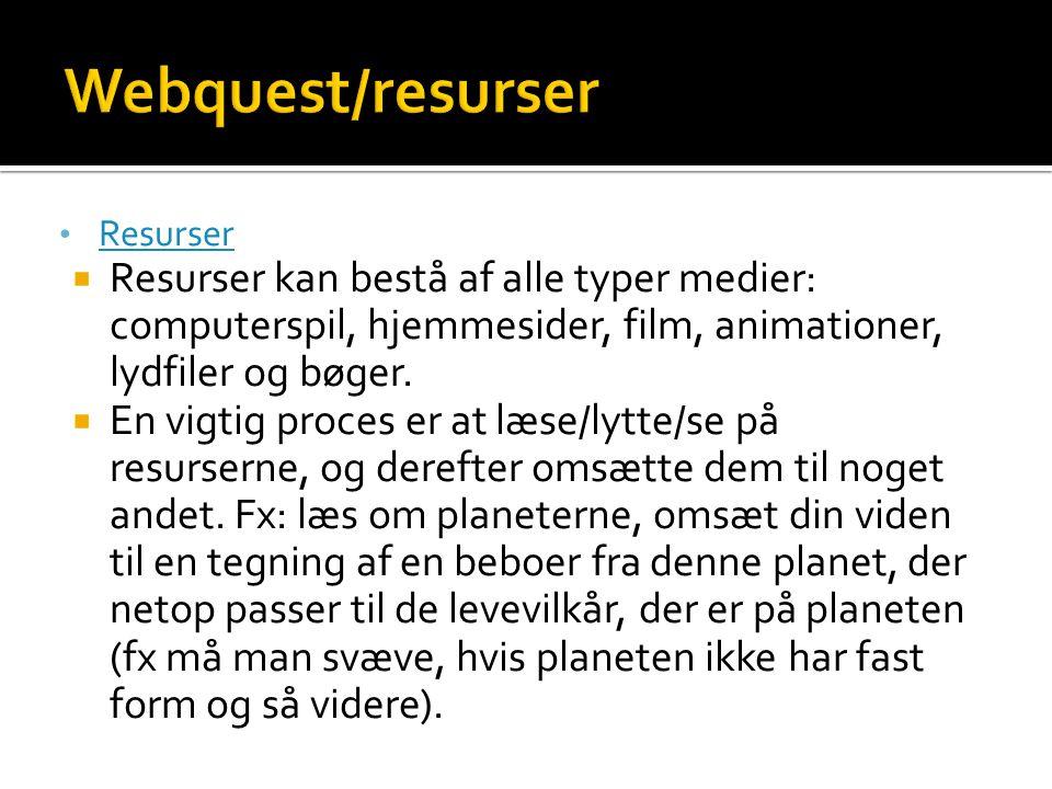 Webquest/resurser Resurser. Resurser kan bestå af alle typer medier: computerspil, hjemmesider, film, animationer, lydfiler og bøger.