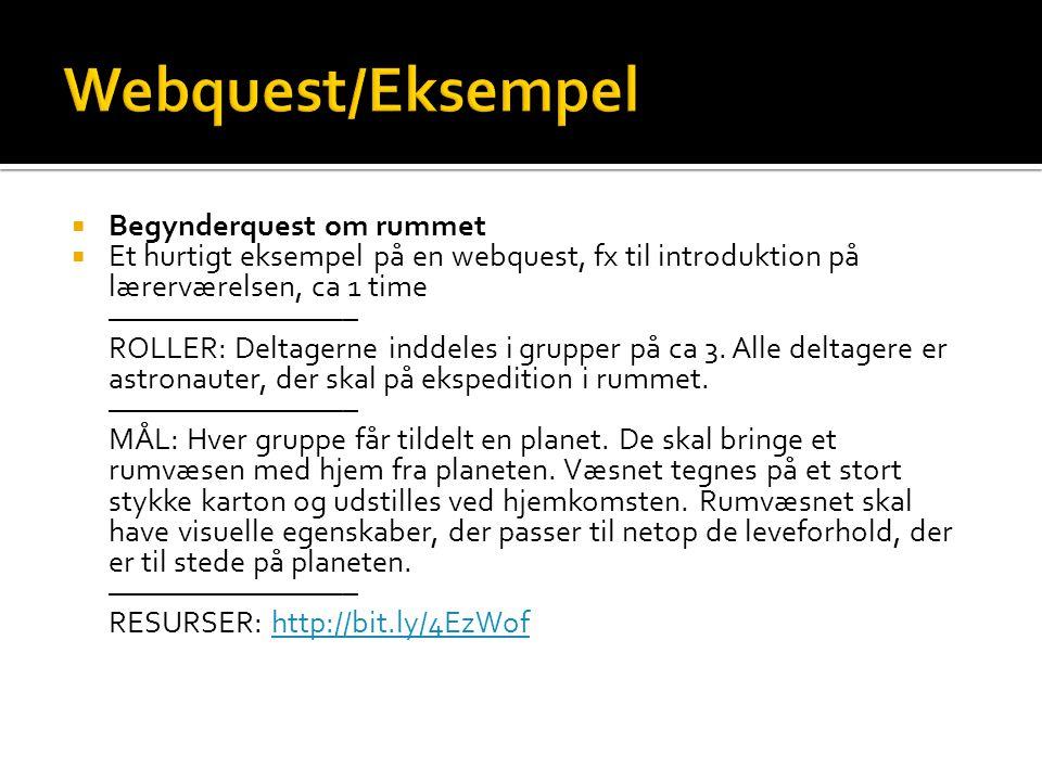 Webquest/Eksempel Begynderquest om rummet