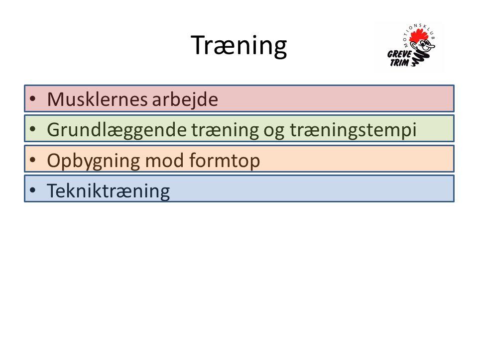 Træning Musklernes arbejde Grundlæggende træning og træningstempi