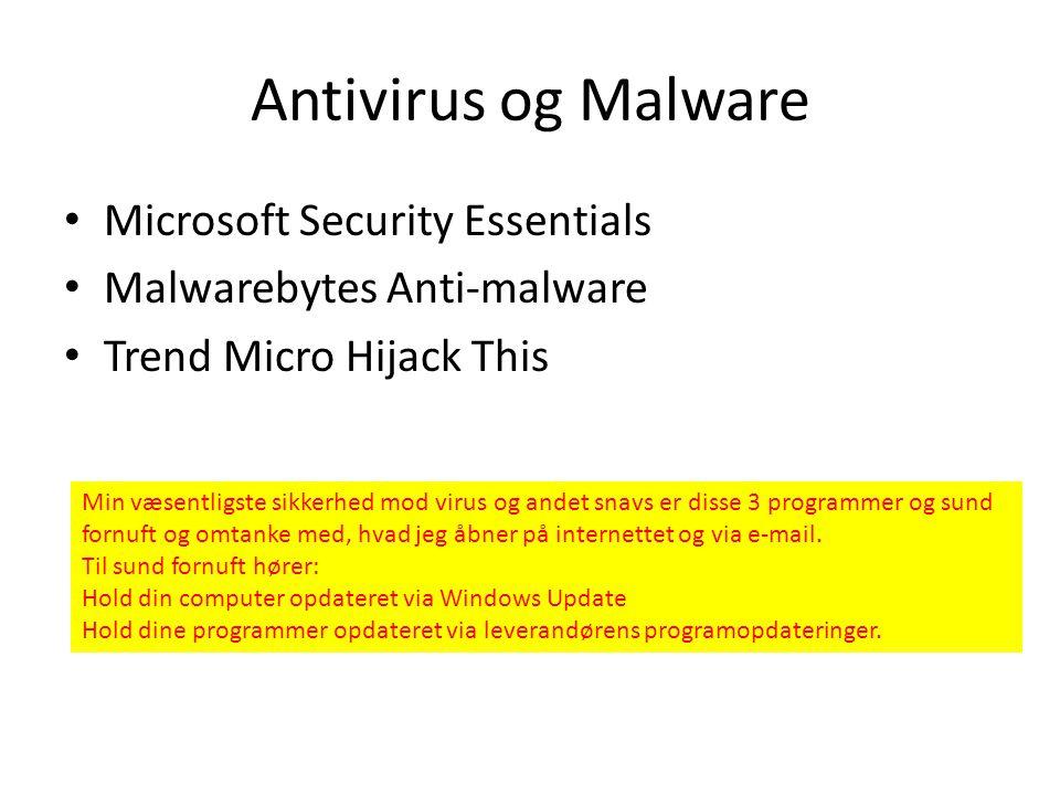 Antivirus og Malware Microsoft Security Essentials
