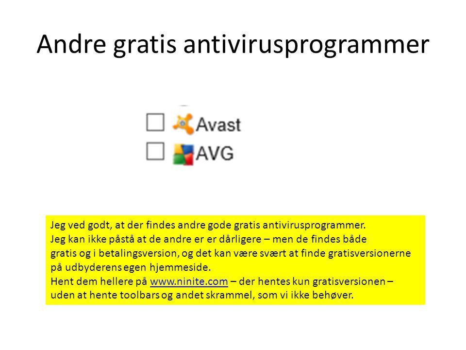 Andre gratis antivirusprogrammer