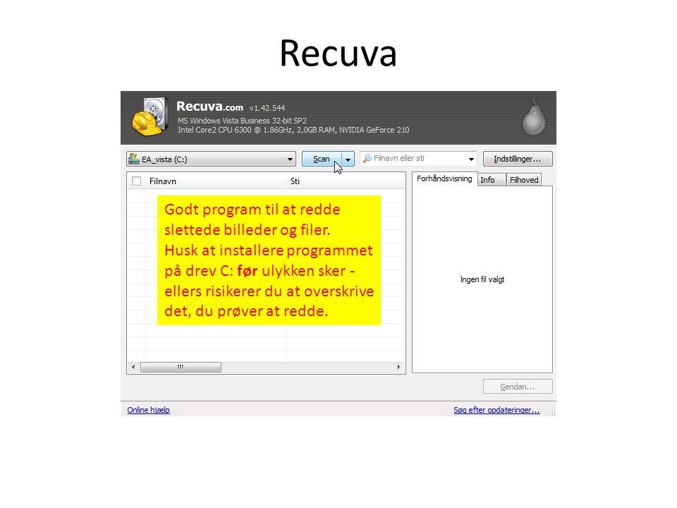 Recuva Godt program til at redde slettede billeder og filer.