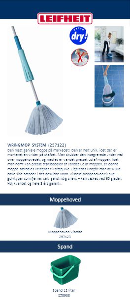 Moppehoved Spand WRINGMOP SYSTEM (257122) Moppehoved Viscose 257123