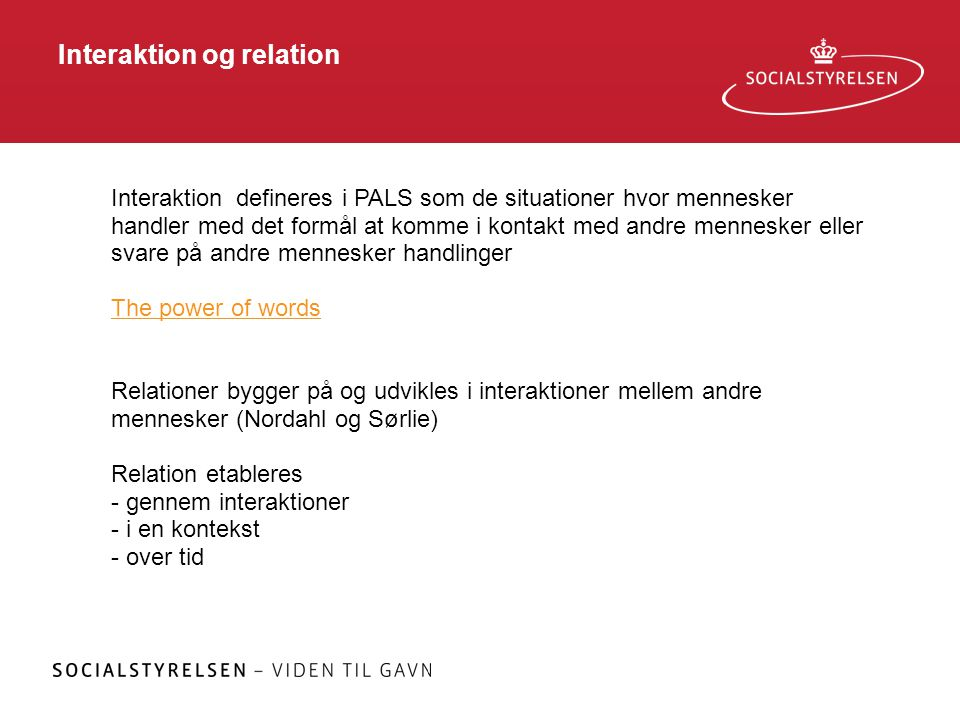 Interaktion og relation