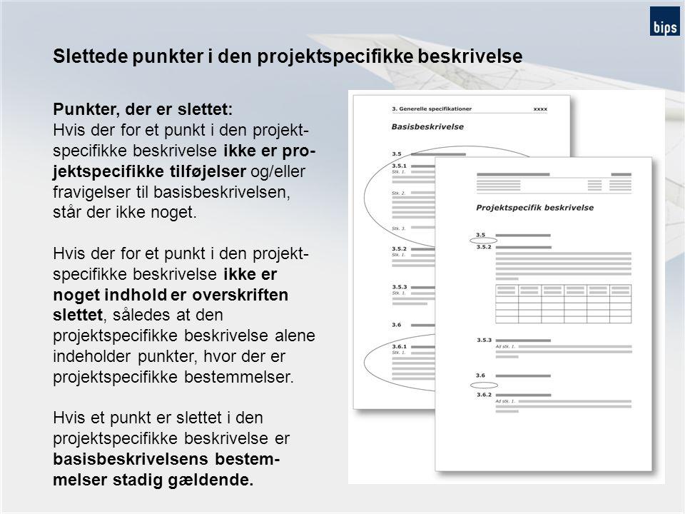 Slettede punkter i den projektspecifikke beskrivelse
