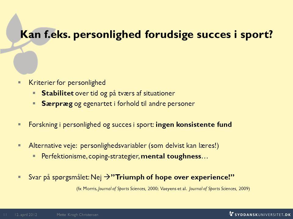 Kan f.eks. personlighed forudsige succes i sport