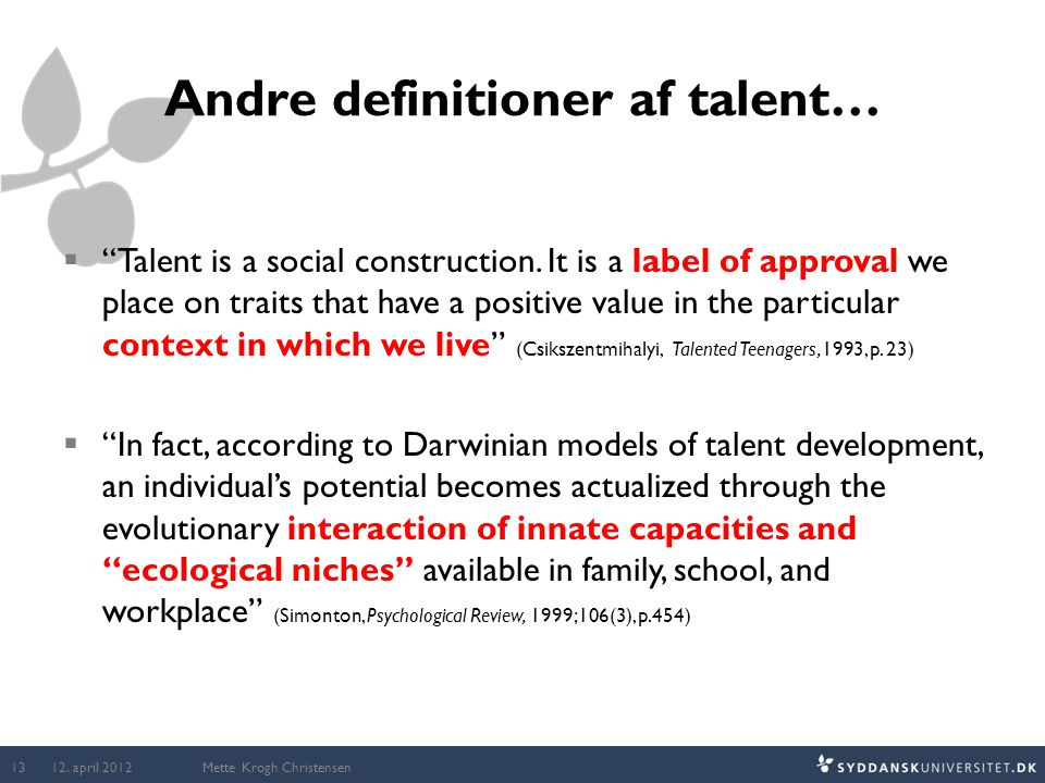 Andre definitioner af talent…