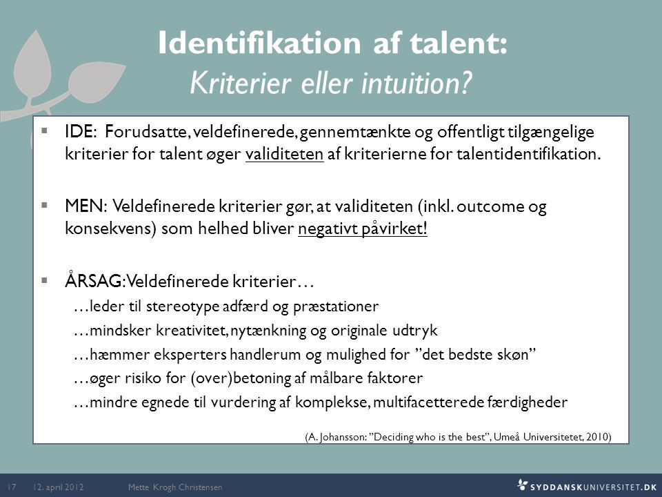 Identifikation af talent: Kriterier eller intuition