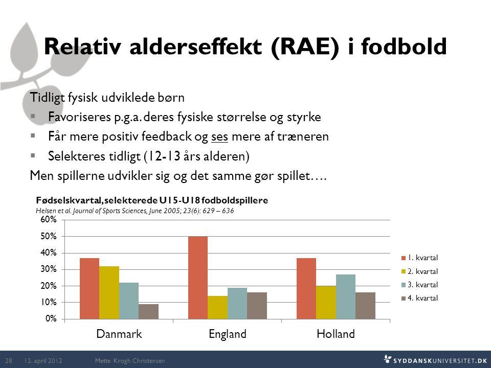 Relativ alderseffekt (RAE) i fodbold
