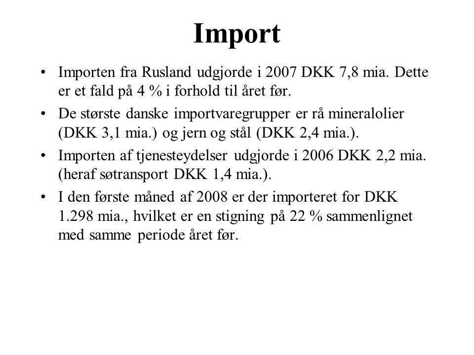 Import Importen fra Rusland udgjorde i 2007 DKK 7,8 mia. Dette er et fald på 4 % i forhold til året før.