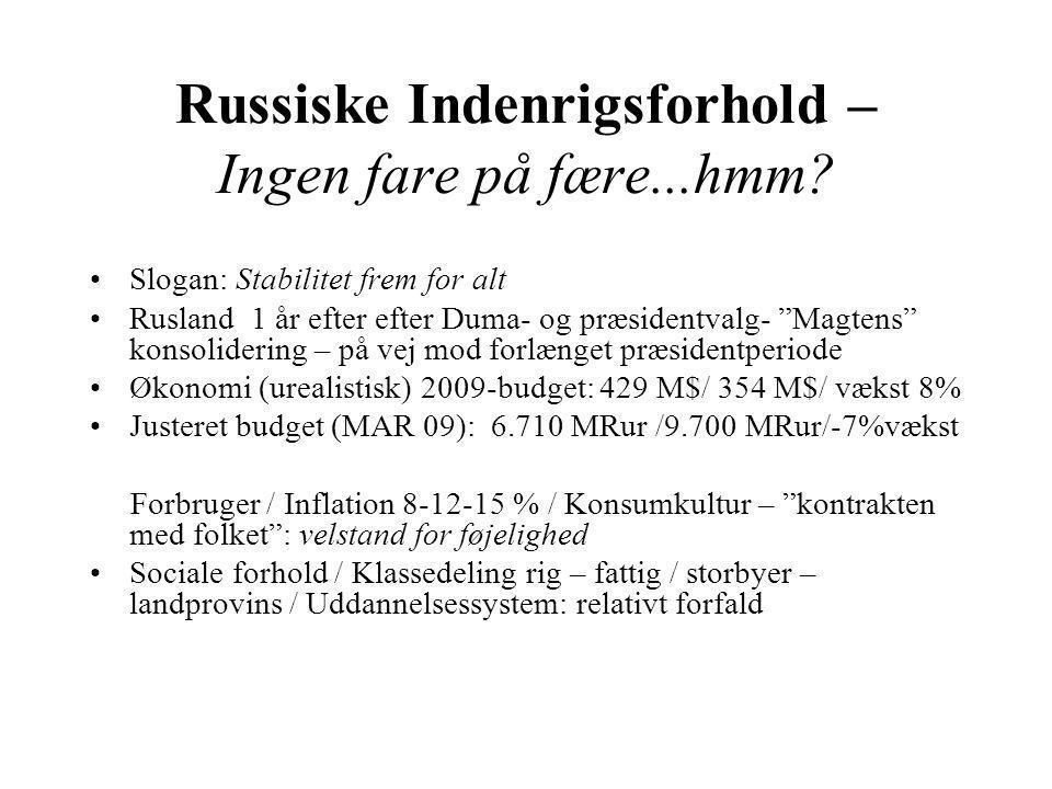 Russiske Indenrigsforhold – Ingen fare på fære...hmm