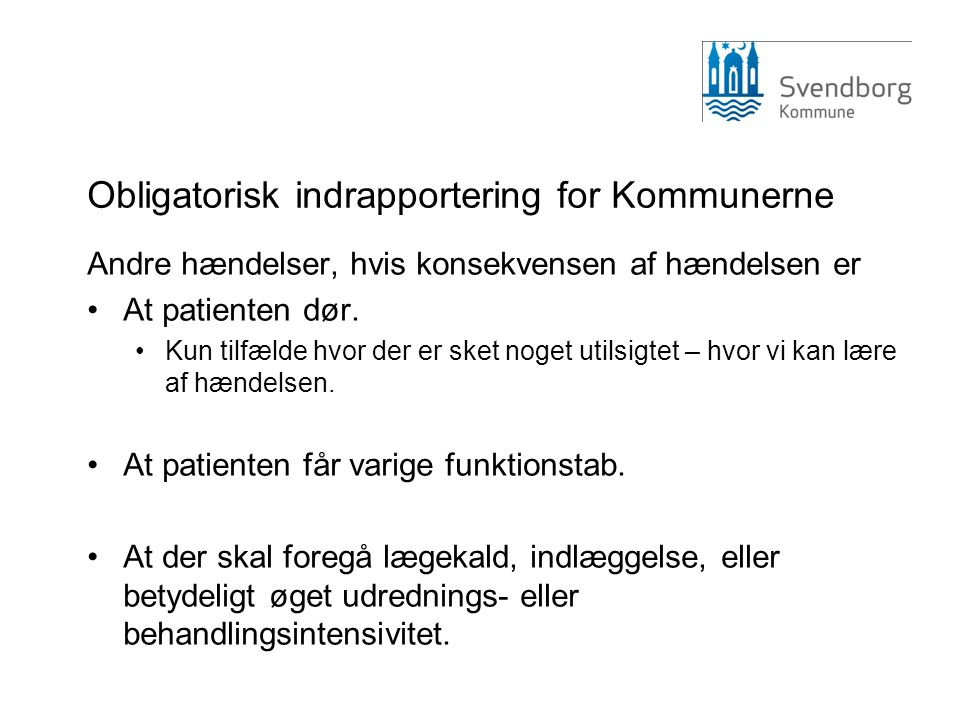 Obligatorisk indrapportering for Kommunerne