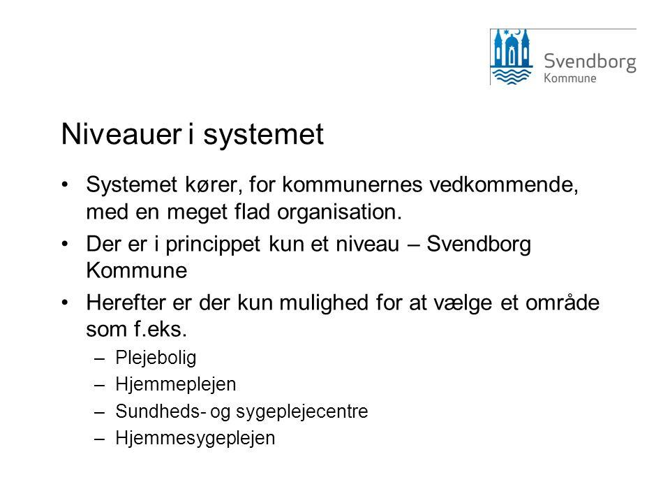 Niveauer i systemet Systemet kører, for kommunernes vedkommende, med en meget flad organisation.