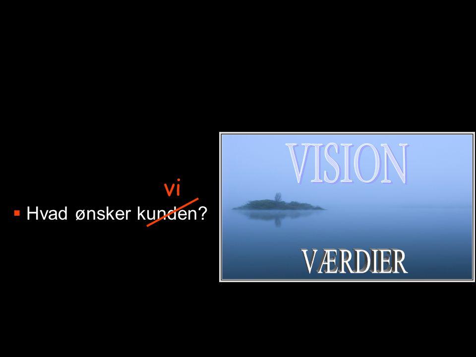 VISION Hvad ønsker kunden vi VÆRDIER