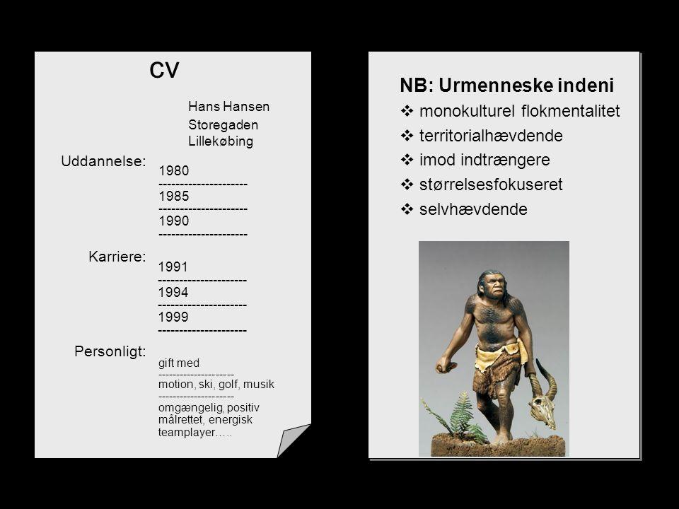 cv Hans Hansen NB: Urmenneske indeni monokulturel flokmentalitet