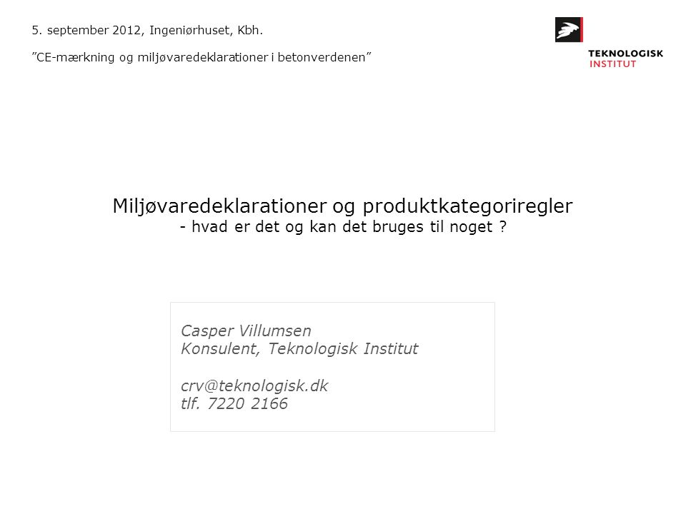 5. september 2012, Ingeniørhuset, Kbh