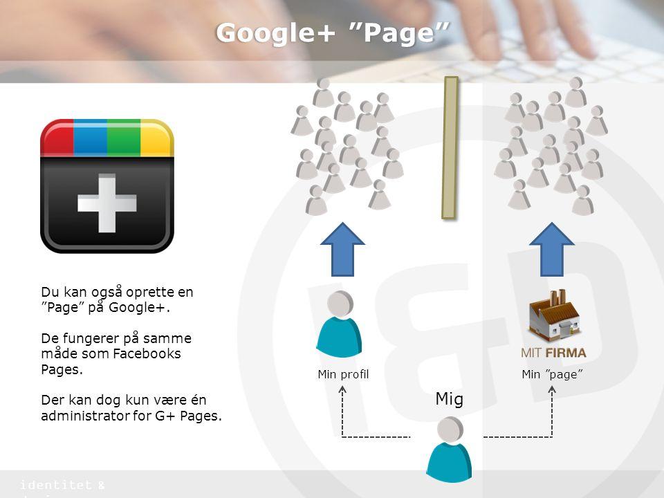 Google+ Page Mig Du kan også oprette en Page på Google+.