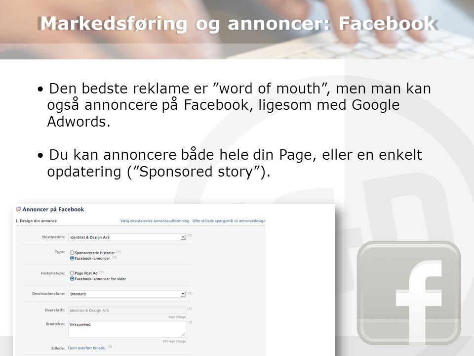 Markedsføring og annoncer: Facebook