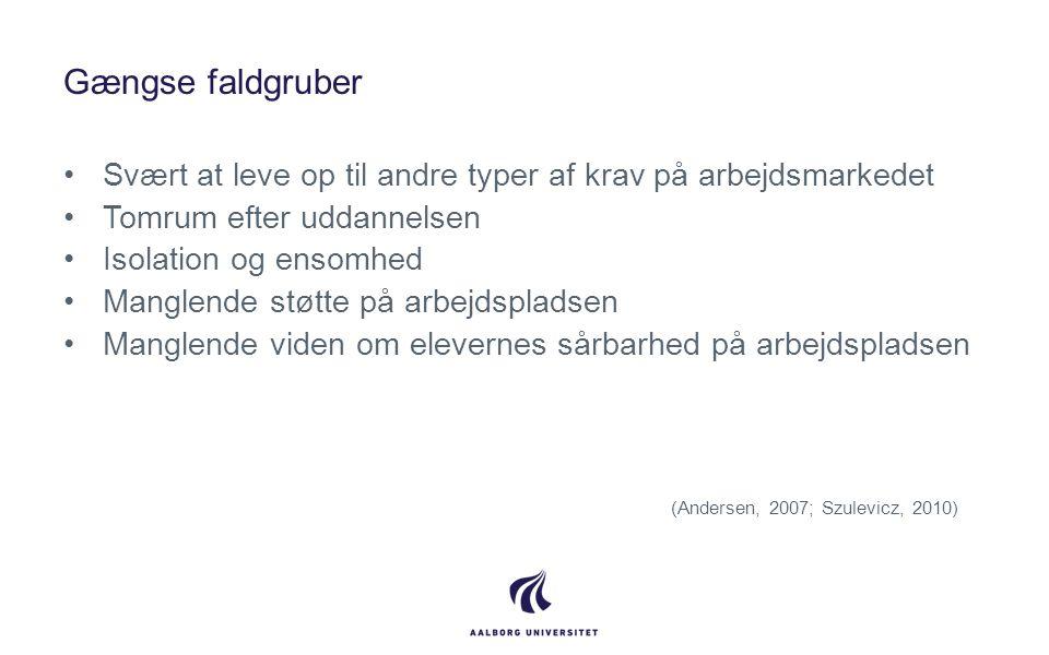 Gængse faldgruber Svært at leve op til andre typer af krav på arbejdsmarkedet. Tomrum efter uddannelsen.