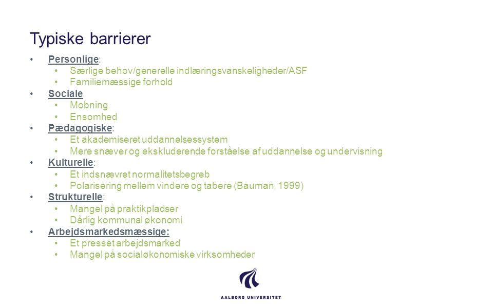 Typiske barrierer Personlige: