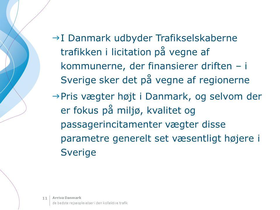 I Danmark udbyder Trafikselskaberne trafikken i licitation på vegne af kommunerne, der finansierer driften – i Sverige sker det på vegne af regionerne