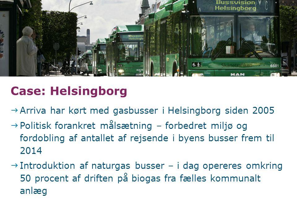 Case: Helsingborg Arriva har kørt med gasbusser i Helsingborg siden 2005.