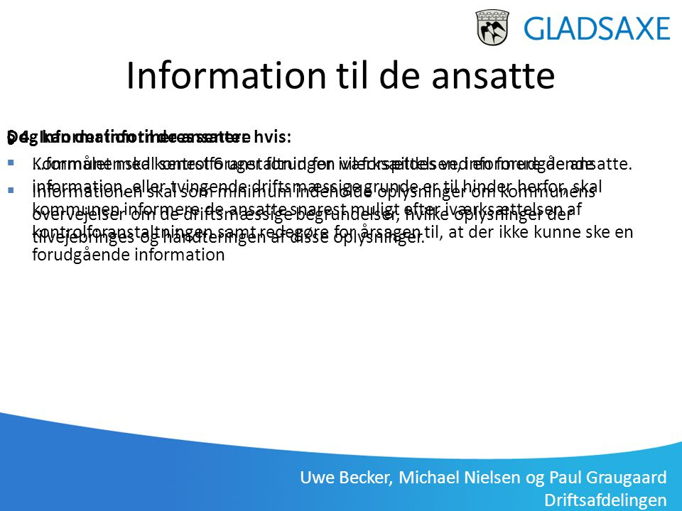 Information til de ansatte