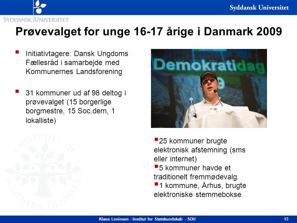 Prøvevalget for unge 16-17 årige i Danmark 2009