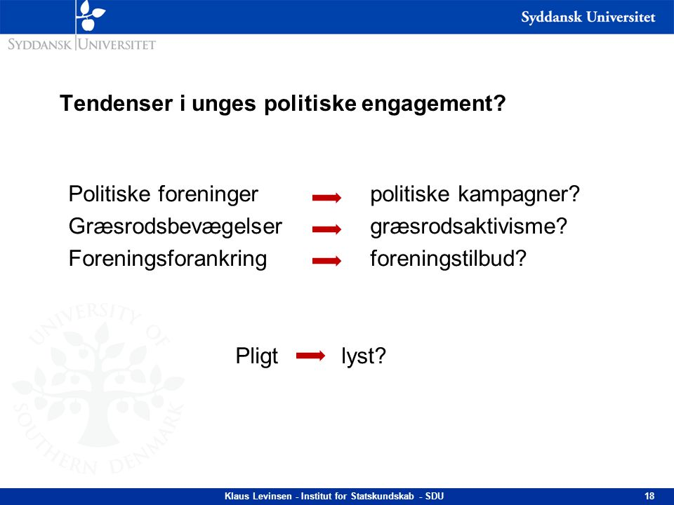 Tendenser i unges politiske engagement