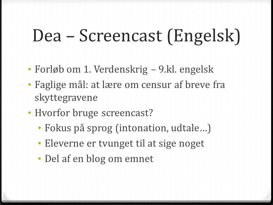 Dea – Screencast (Engelsk)