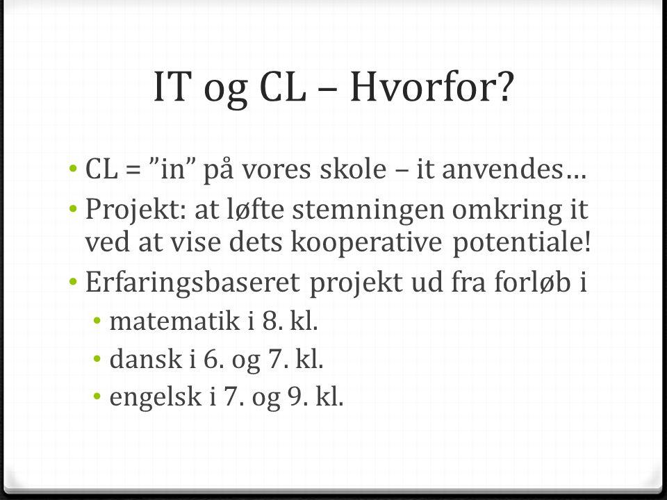 IT og CL – Hvorfor CL = in på vores skole – it anvendes…