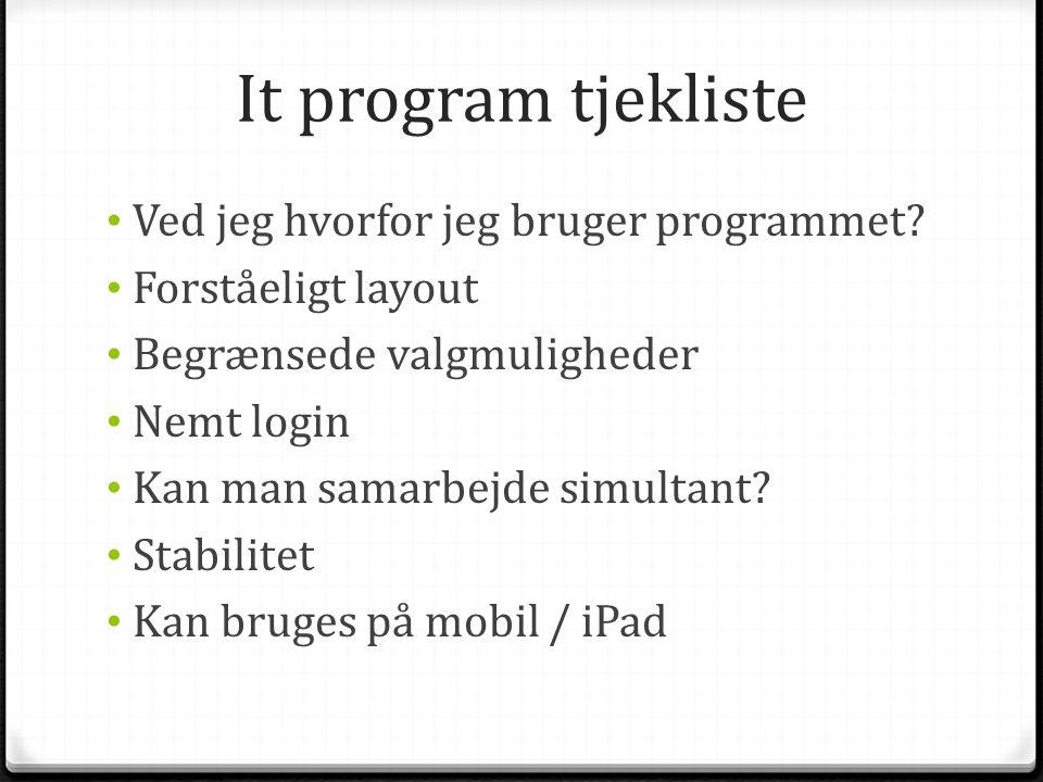 It program tjekliste Ved jeg hvorfor jeg bruger programmet