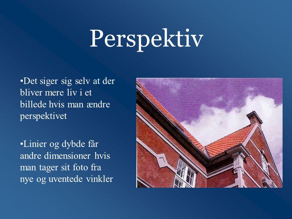 Perspektiv Det siger sig selv at der bliver mere liv i et billede hvis man ændre perspektivet.