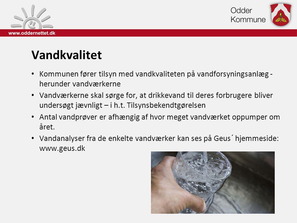 Vandkvalitet Kommunen fører tilsyn med vandkvaliteten på vandforsyningsanlæg - herunder vandværkerne.