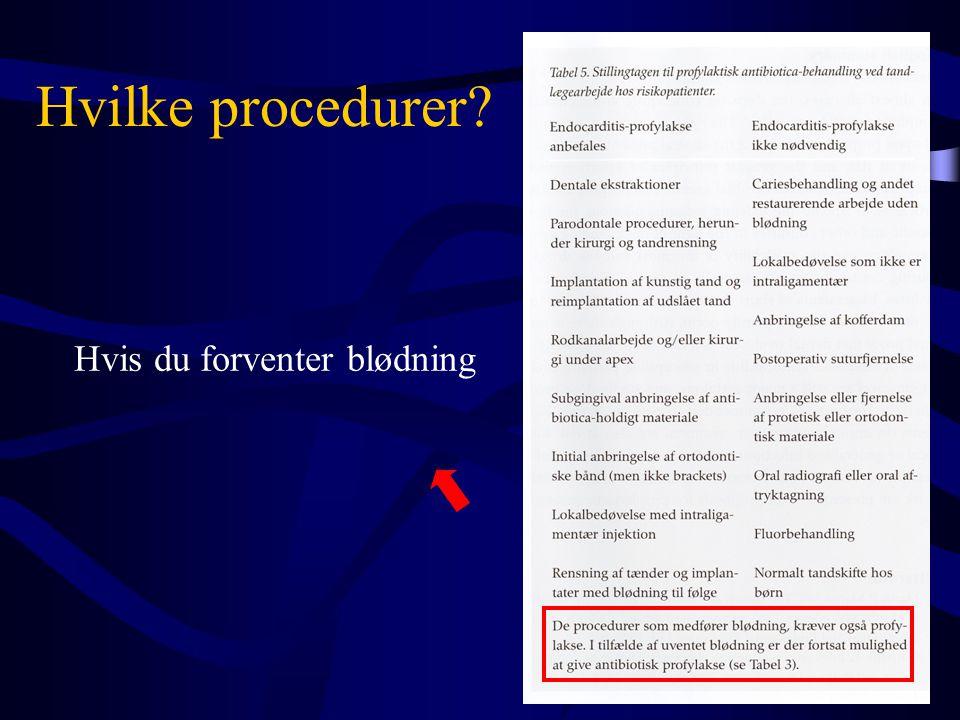 Hvilke procedurer Hvis du forventer blødning