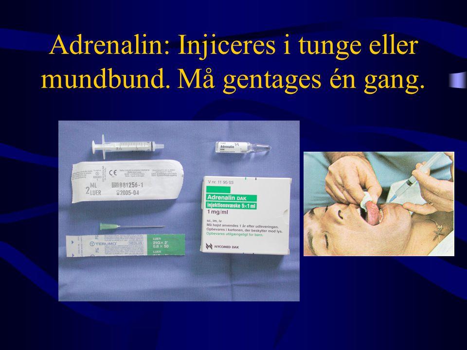 Adrenalin: Injiceres i tunge eller mundbund. Må gentages én gang.