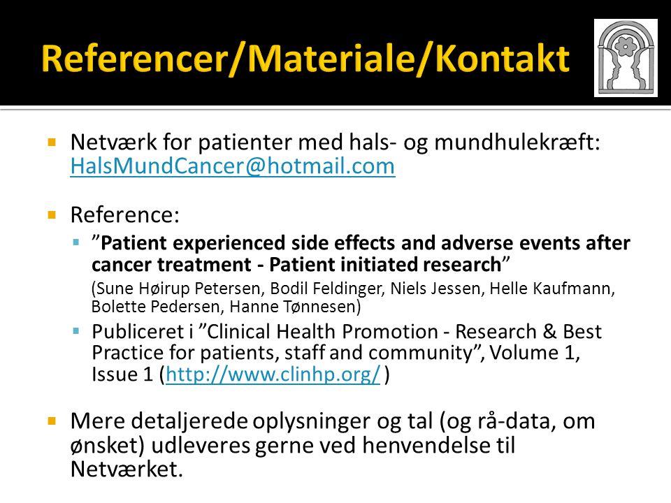 Referencer/Materiale/Kontakt