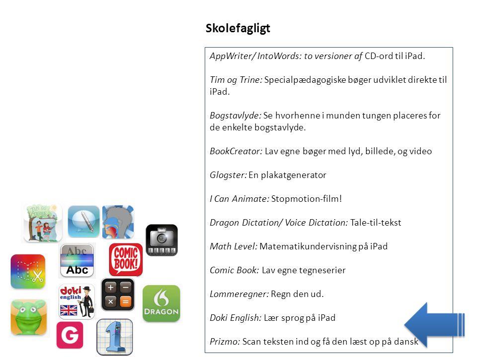 Skolefagligt AppWriter/ IntoWords: to versioner af CD-ord til iPad.