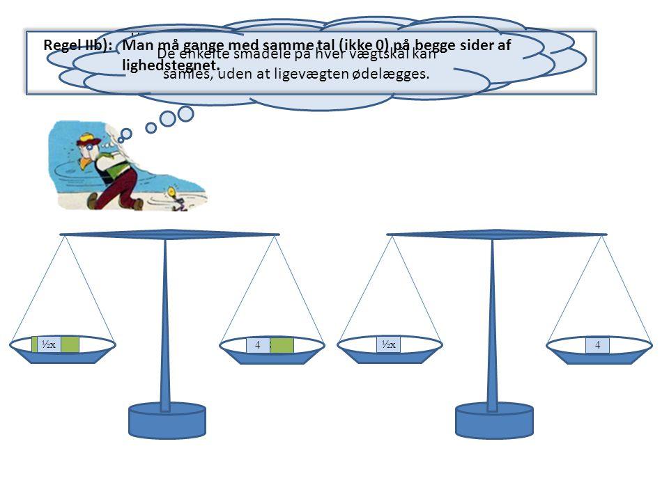Hvis man flytter indholdet af de to vægtskåle i en ligevægt til de to vægtskåle på en anden ligevægt, bevares ligevægten – ligningen gælder stadig.