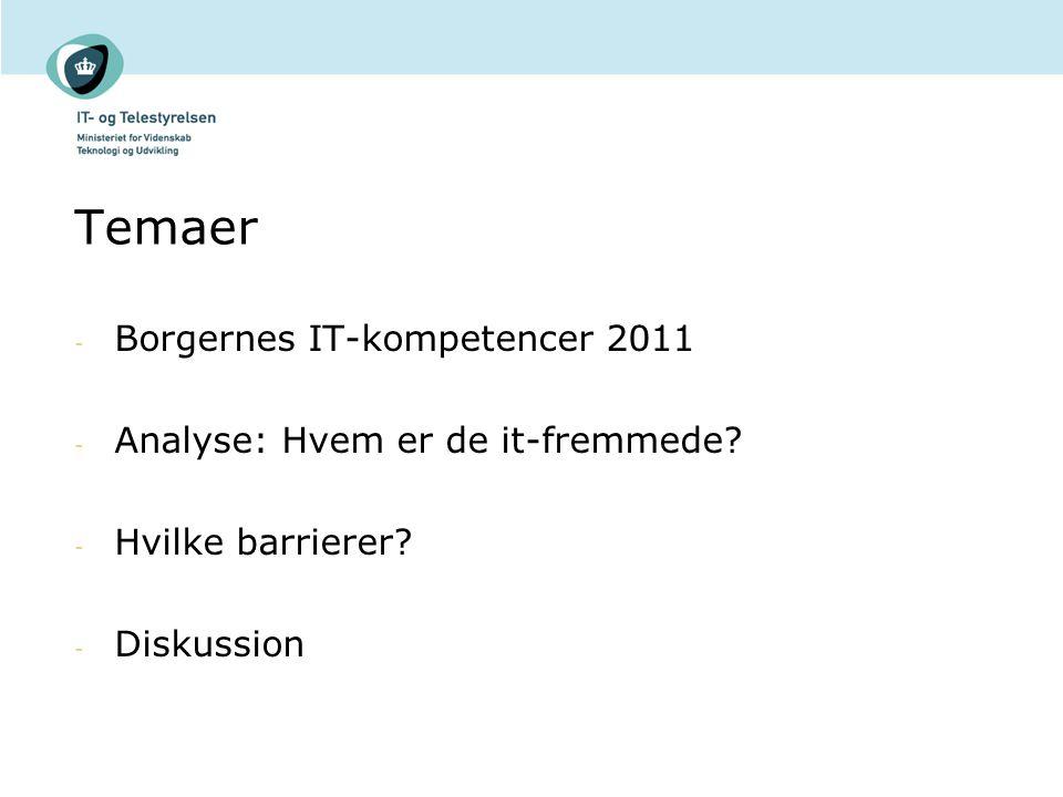 Temaer Borgernes IT-kompetencer 2011 Analyse: Hvem er de it-fremmede