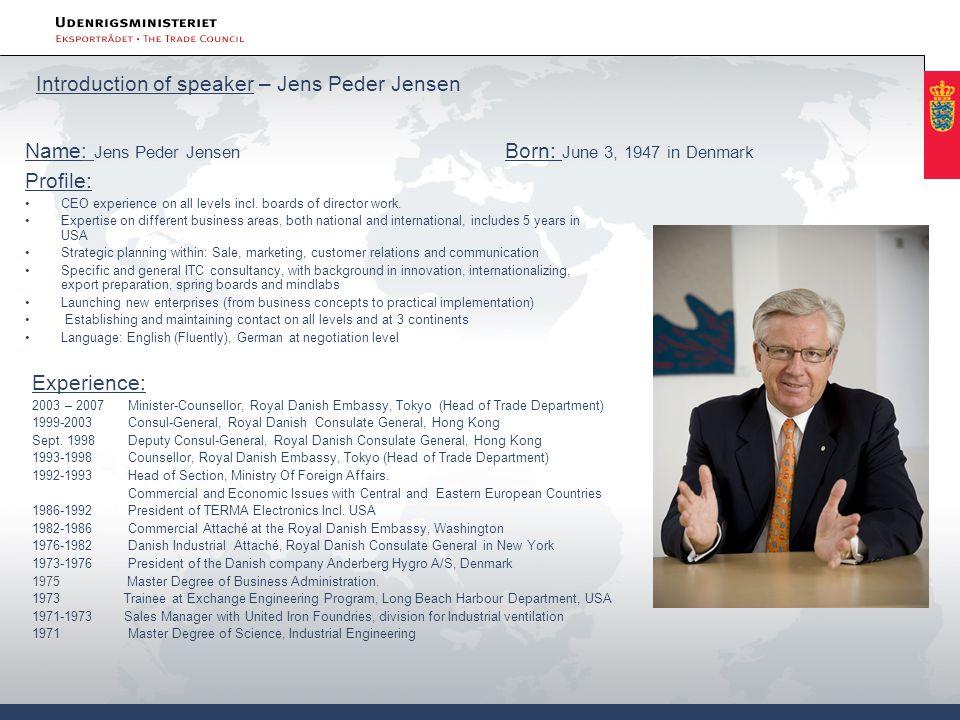 Introduction of speaker – Jens Peder Jensen