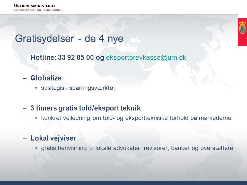 Gratisydelser - de 4 nye Hotline: 33 92 05 00 og eksportbrevkasse@um.dk. Globalize. strategisk sparringsværktøj.